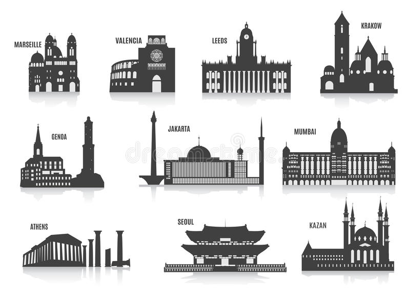 Silhouettes des villes illustration libre de droits