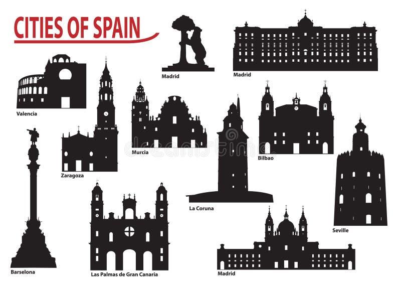 Silhouettes des villes en Espagne illustration de vecteur