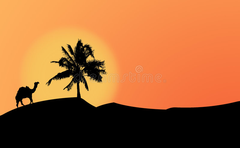 Download Silhouettes In The Dessert Stock Image - Image: 56881
