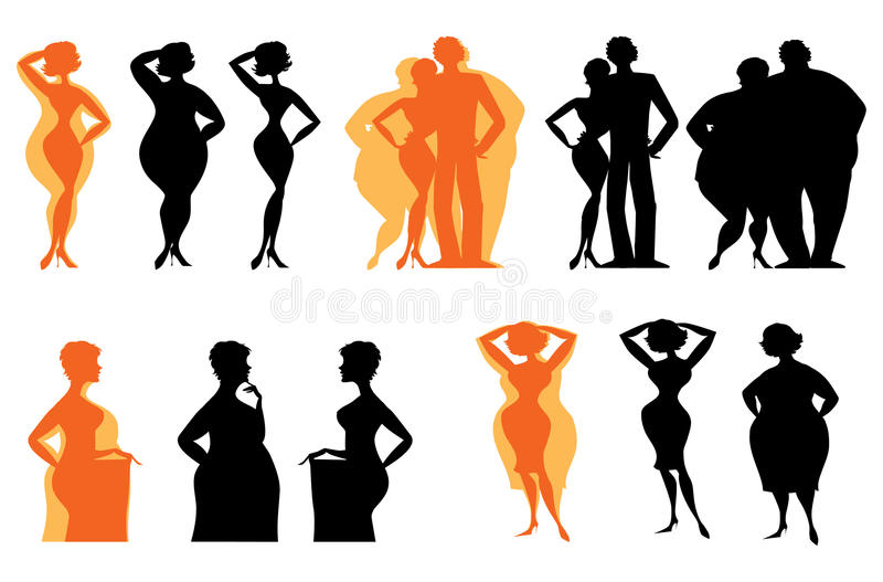 Silhouettes of dieting people vector illustration
