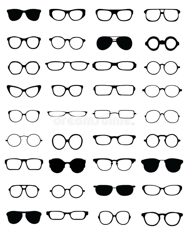 Silhouettes of different eyeglasses royalty free stock images