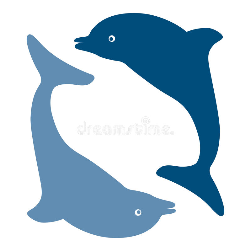 Silhouettes of the dolphins stock illustration