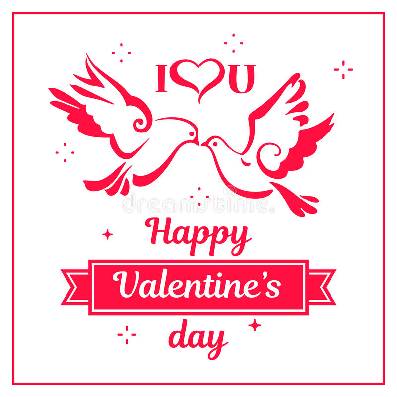 Silhouettes of Doves with hearts. Love symbols royalty free illustration