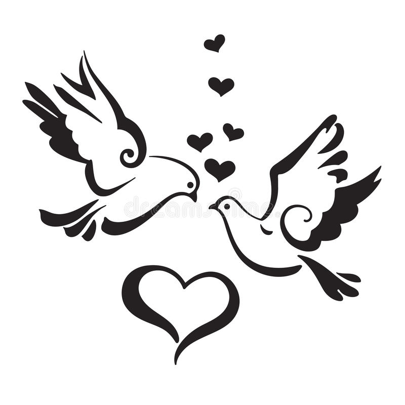 Silhouettes of Doves with hearts on white background royalty free illustration