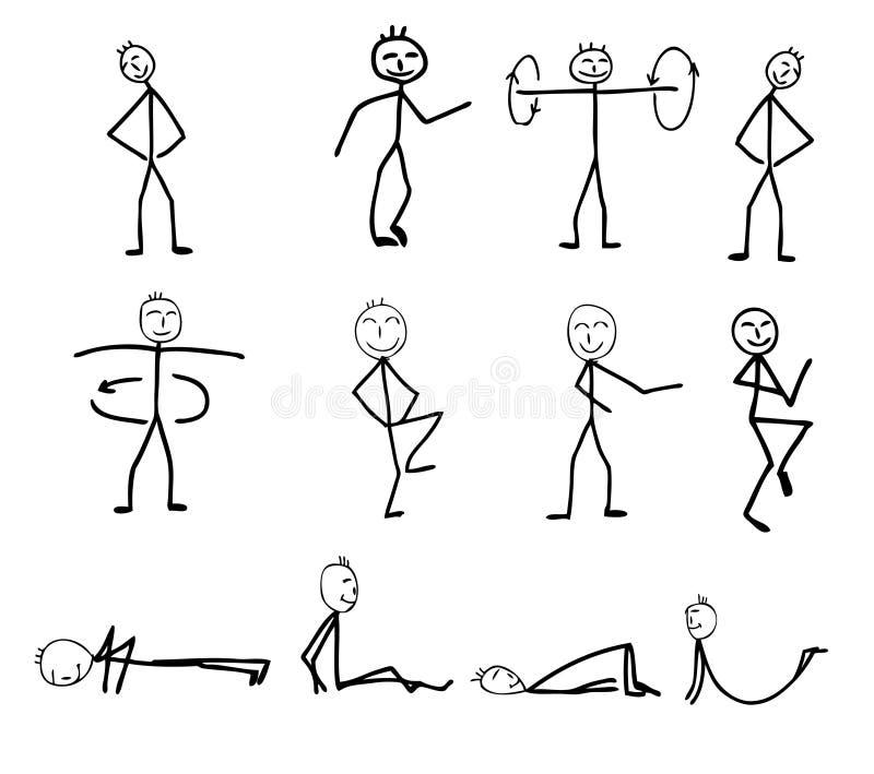 Silhouettes drôles de forme physique illustration stock