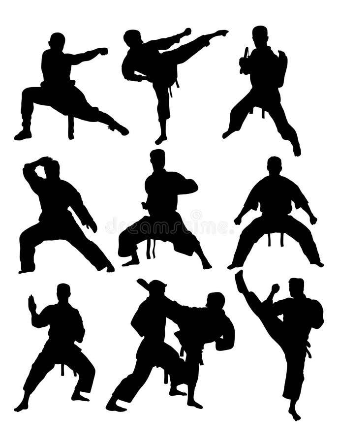 Silhouettes du Taekwondo et de karaté illustration de vecteur