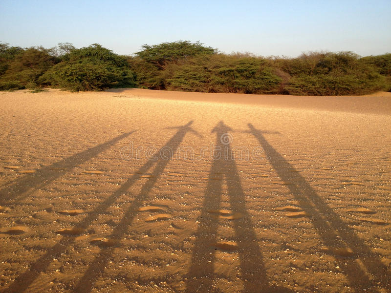 Silhouettes in the dunes stock images