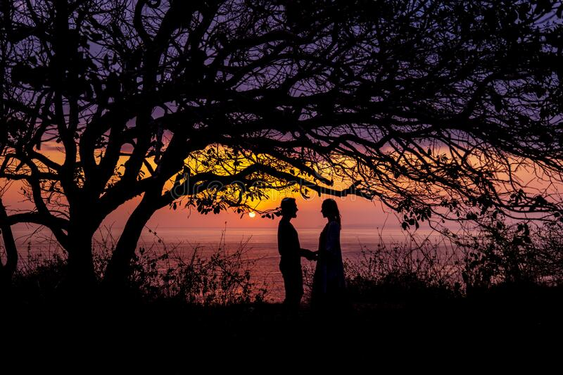Silhouettes of embracing couple at sunset stock photo
