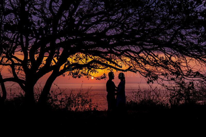 Silhouettes of embracing couple at sunset stock images