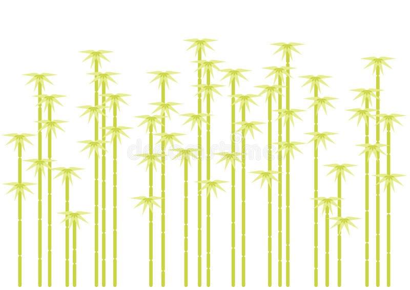 Silhouettes en bambou d'arbre,   illustration de vecteur