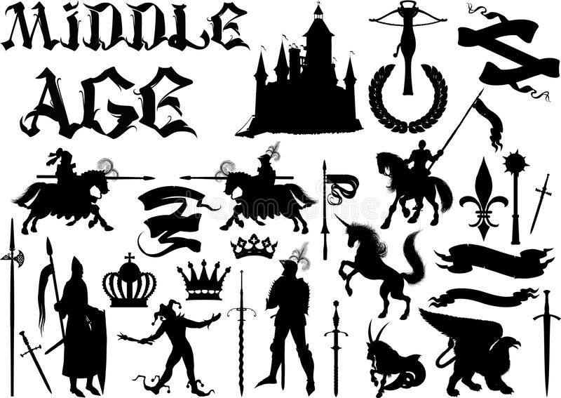 Silhouettes et icônes sur le thème médiéval illustration stock