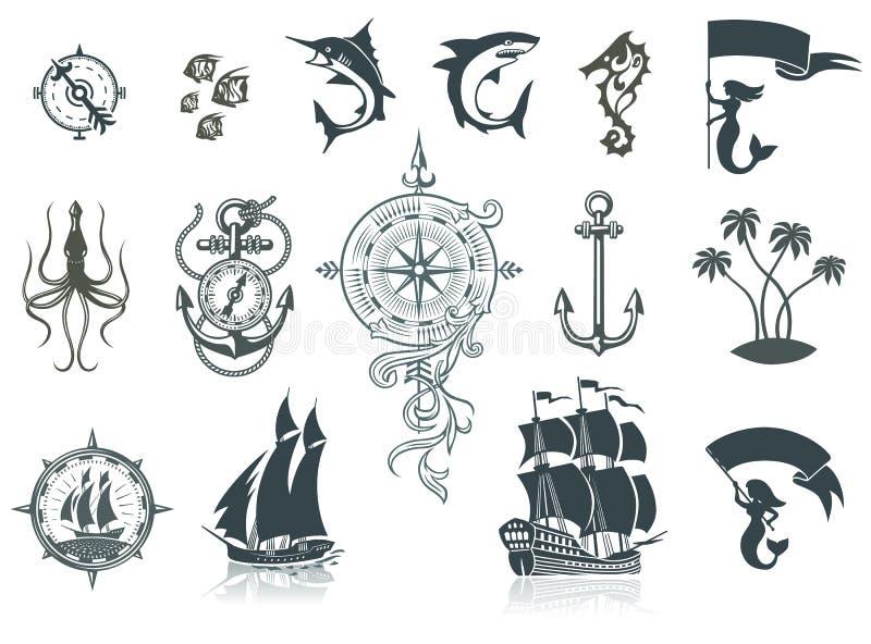 Silhouettes et Marine Emblems de bateaux de navigation illustration stock