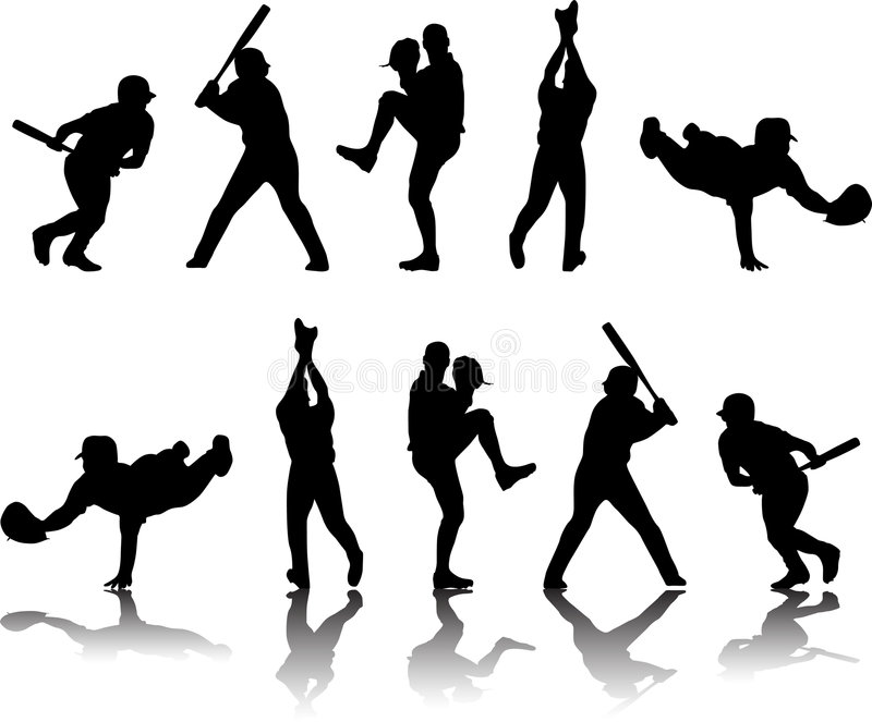 Silhouettes et Refle de base-ball illustration de vecteur