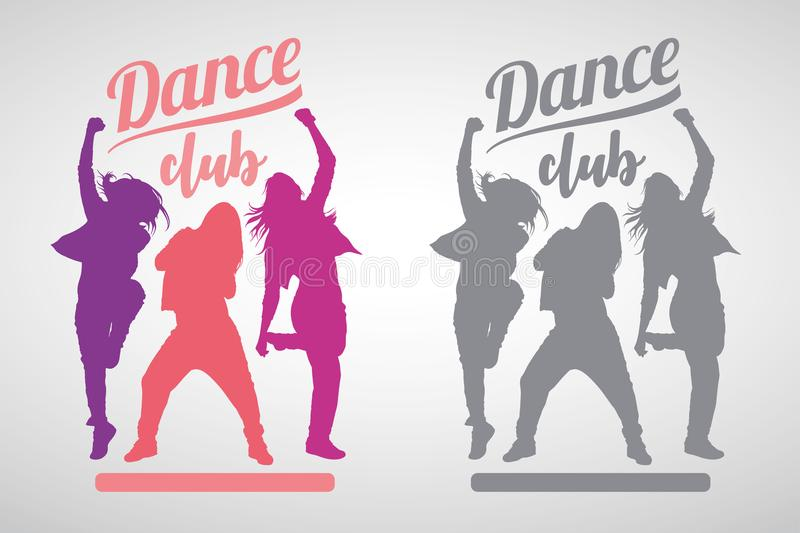 Silhouettes of expressive girls dancing modern dance styles stock photography