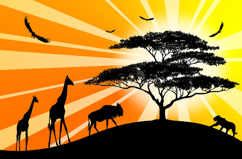 silhouettes för africa animalesorange royaltyfri illustrationer