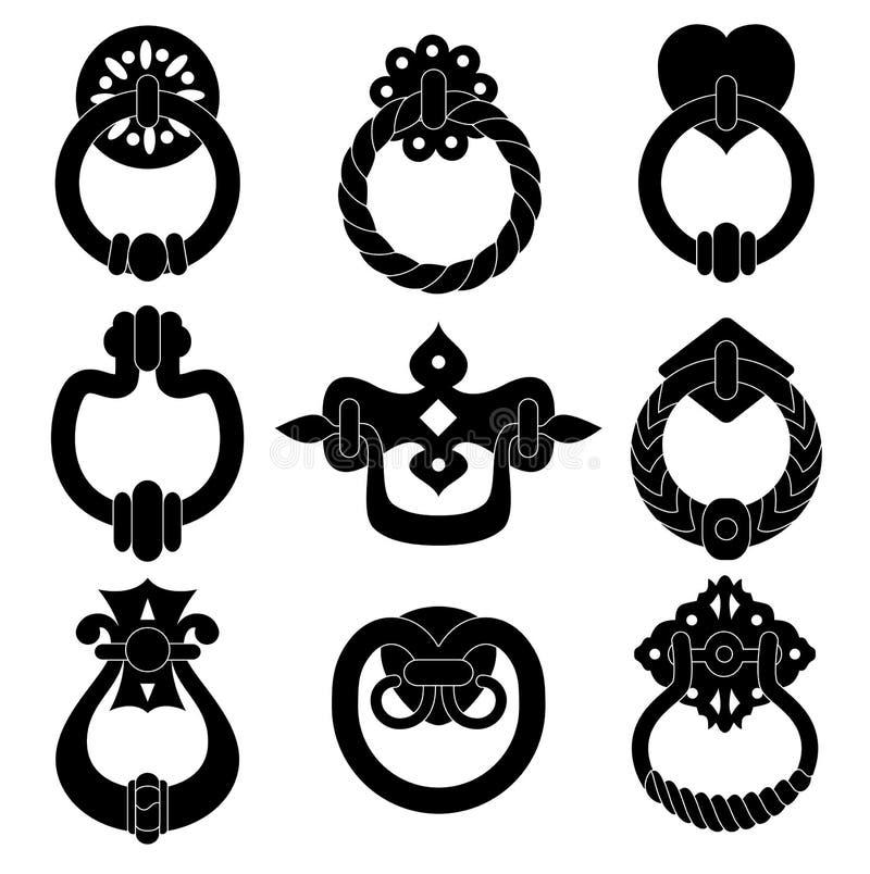 Silhouettes för dörrhandtag stock illustrationer