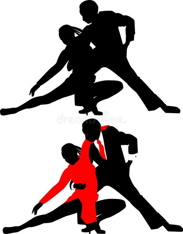 silhouettes för dans couples2 vektor illustrationer
