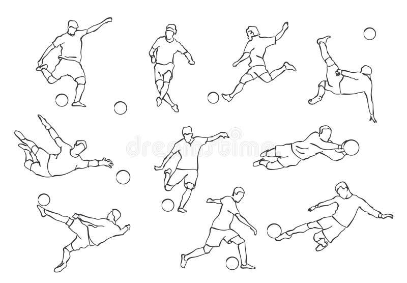 silhouettes för fotbollillustrationspelare royaltyfri illustrationer