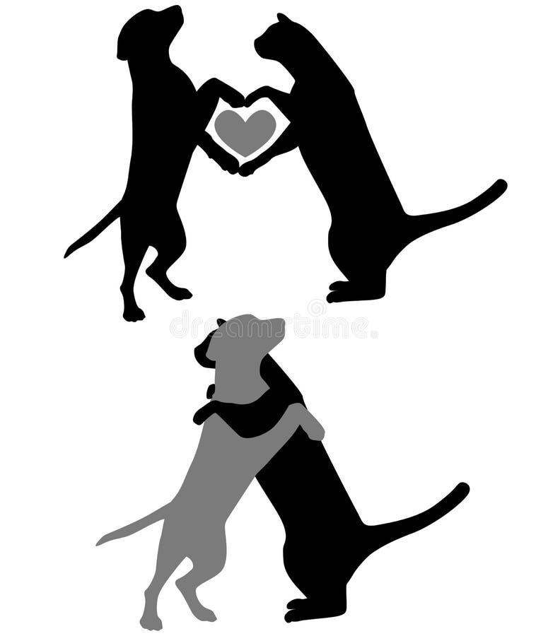 silhouettes för katthundförälskelse stock illustrationer