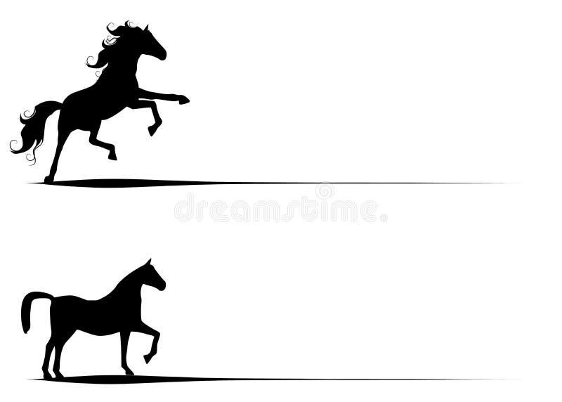 silhouettes för konstgemhäst royaltyfri illustrationer