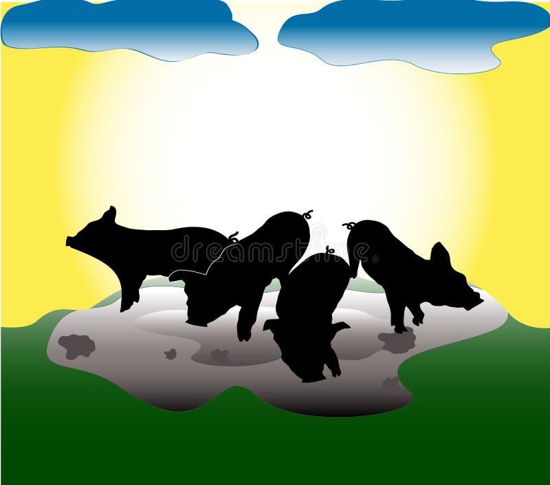 silhouettes för pigs s vektor illustrationer