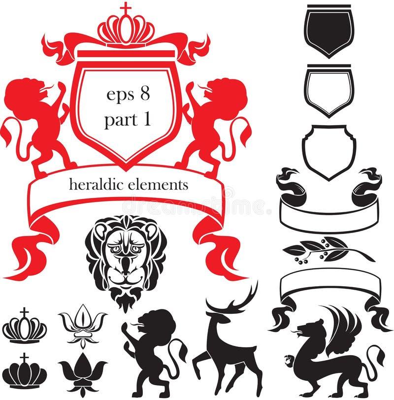 silhouettes för set för elementssetheraldi heraldiska stock illustrationer