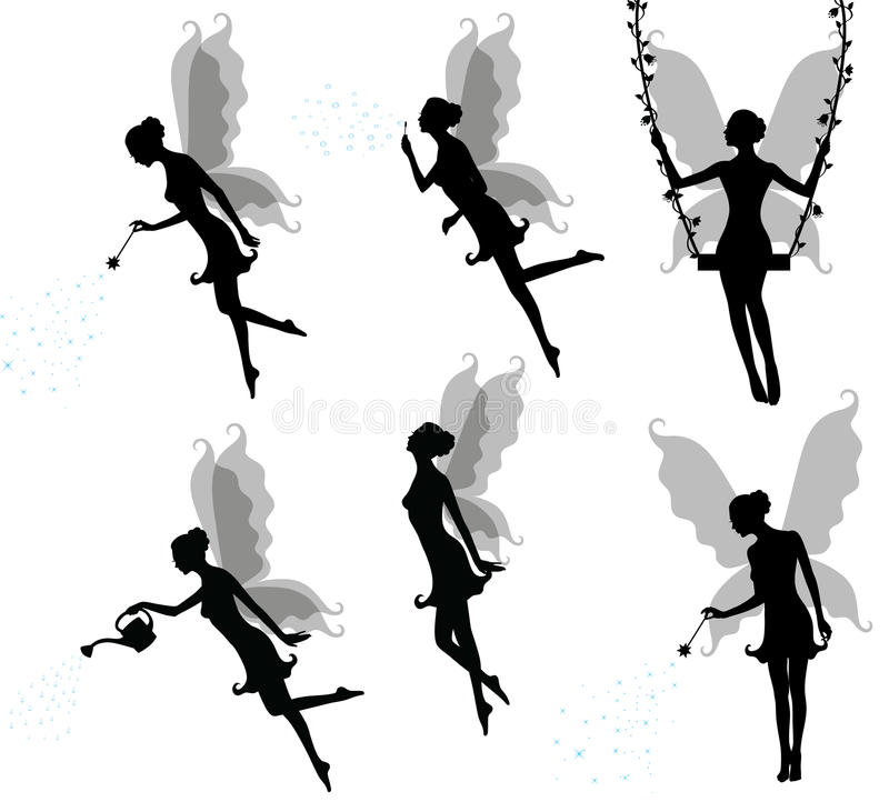 Silhouettes of a fairy. Collections of vector silhouettes of a fairy vector illustration