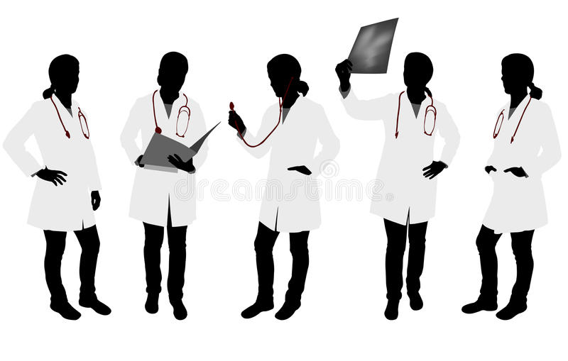 Silhouettes of female doctor royalty free illustration
