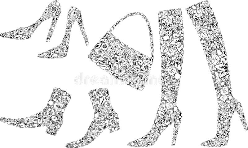 Silhouettes of female shoes from ornamental leaves stock illustration