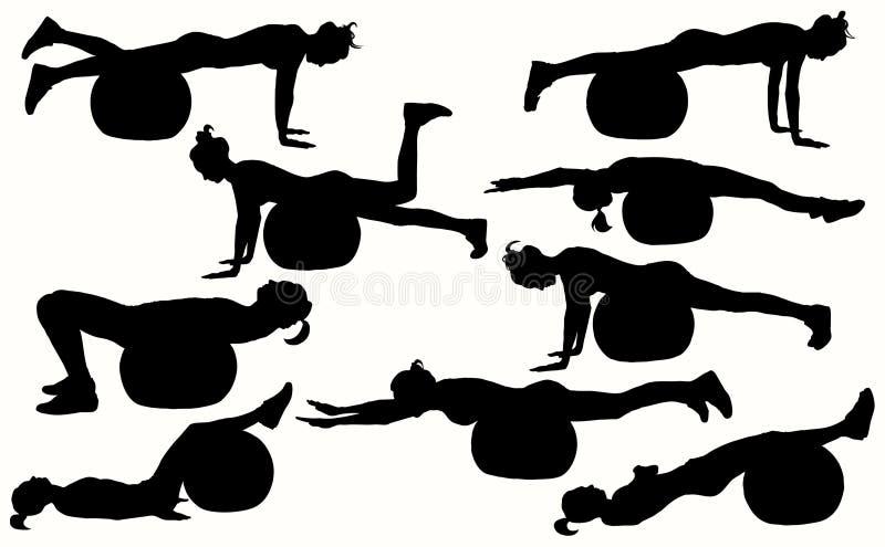 Silhouettes femelles de forme physique avec la boule de forme physique image libre de droits