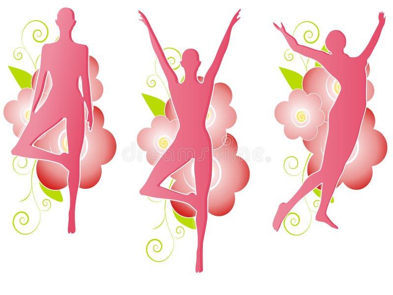 Silhouettes femelles florales roses illustration libre de droits