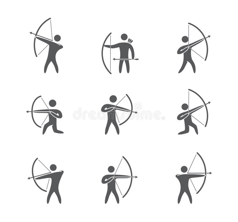 Silhouettes of figures archer icons vector set stock illustration