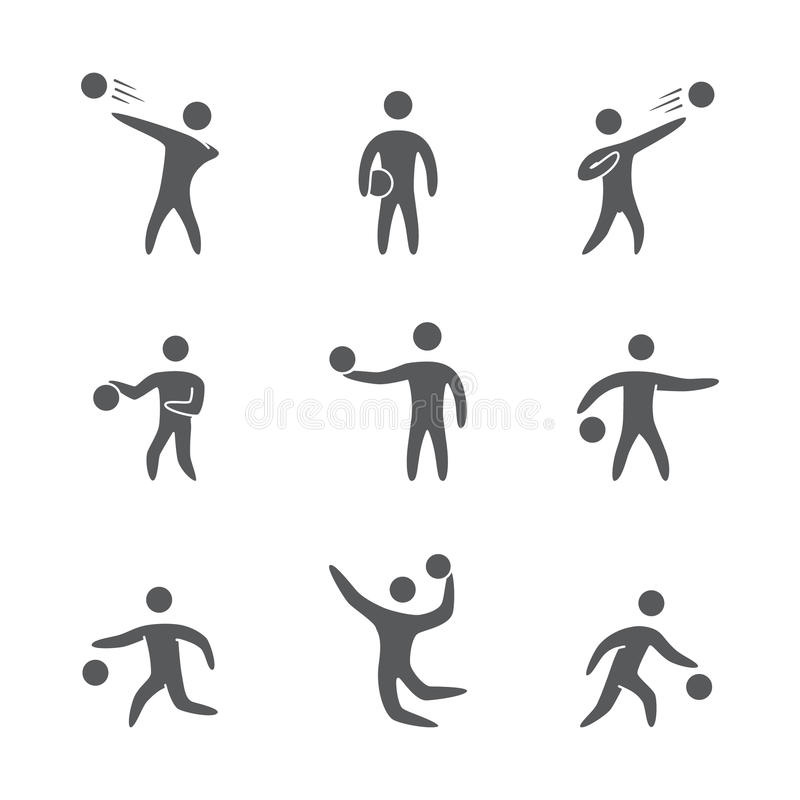 Silhouettes of figures basketball player icons set vector illustration