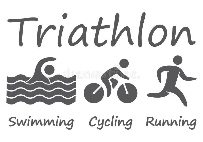 Silhouettes figures triathlon athletes stock illustration