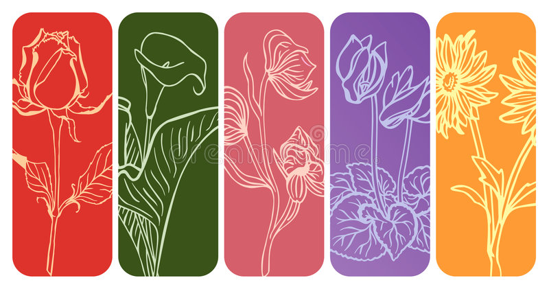 Silhouettes florales illustration libre de droits