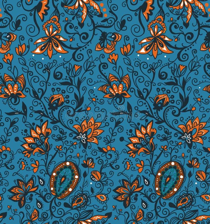 Silhouettes florales d'éléments Modèle sans couture fleuri des motifs floraux Style de nature de conte de fées Rustique épanouiss illustration stock
