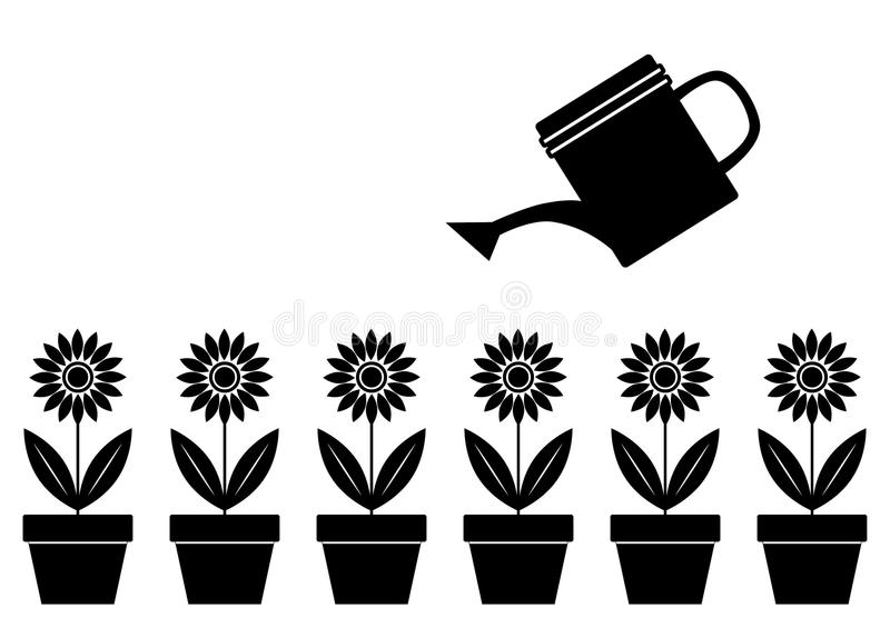Download Silhouettes of flowers stock vector. Illustration of container - 21092221
