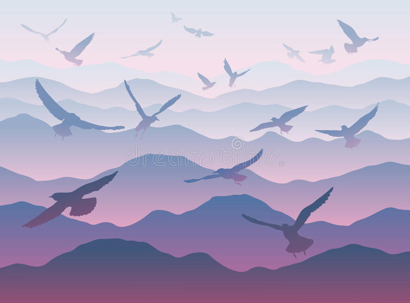 Silhouettes of flying birds over mountains. Vector silhouettes of flying birds over mountains vector illustration
