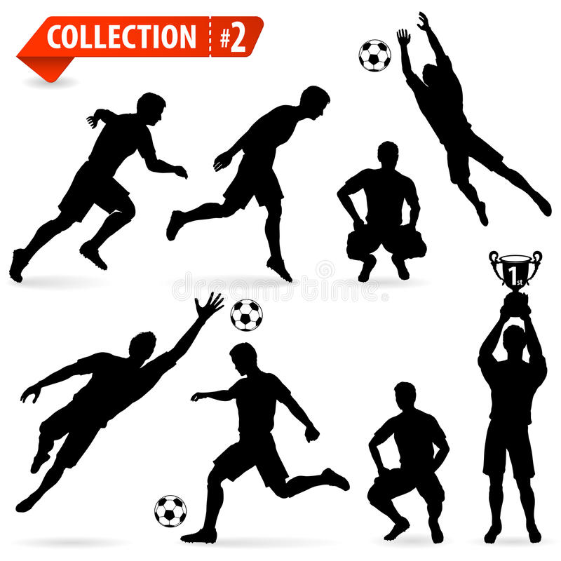 Silhouettes Football Players Stock Images