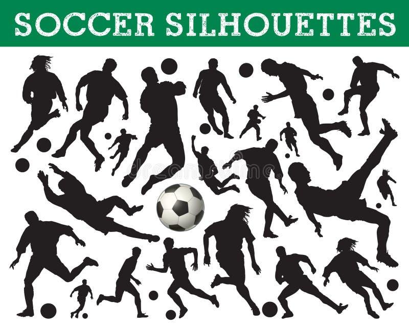 silhouettes fotboll vektor illustrationer
