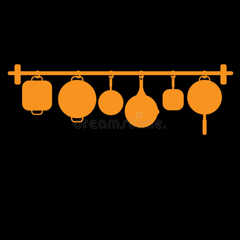 Silhouettes of frying pan. VECTOR stock illustration