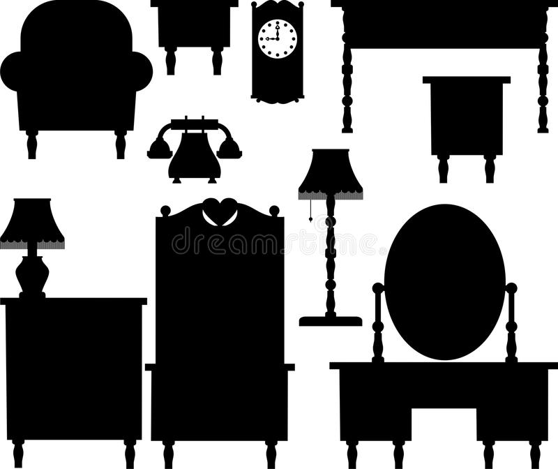 Silhouettes of furniture. Silhouettes of various antique furniture vector illustration