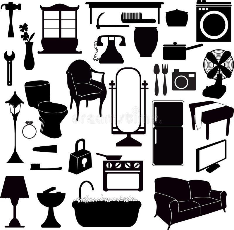 Silhouettes furniture and other objects stock vector for Vintage muebles y objetos