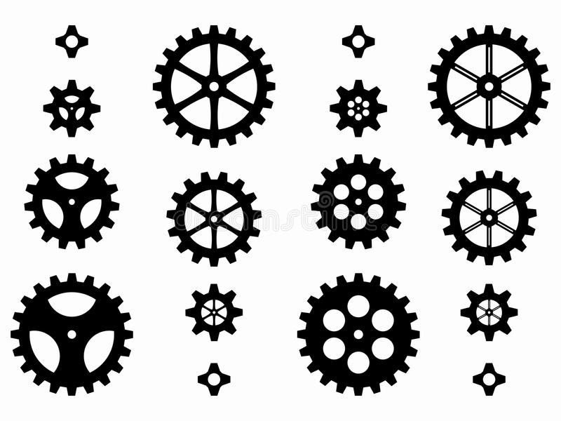 Silhouettes of gears, vector illustration royalty free illustration