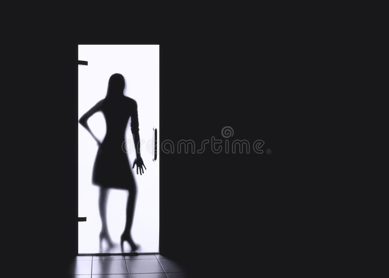 Silhouettes of the girl. Dark forces girls for copy space. Silhouettes of a girl behind a glass door, woman, lady, fashion, creativity, copy, space, incognito royalty free stock photography
