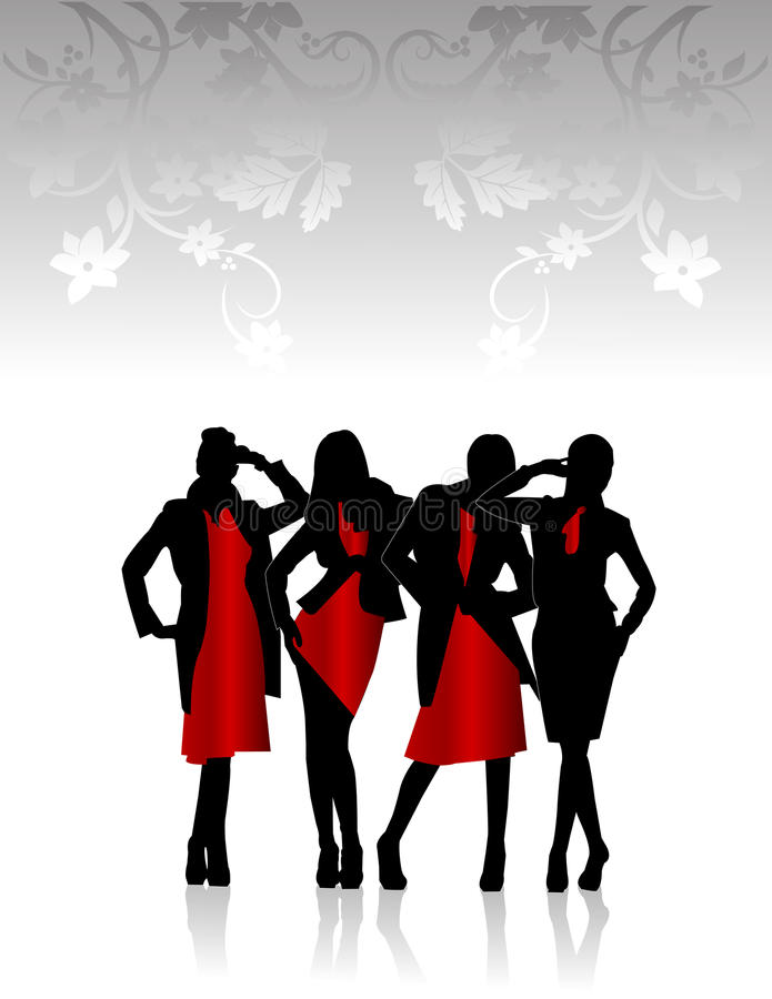 Download Silhouettes of girls stock vector. Image of females, shoes - 14198827