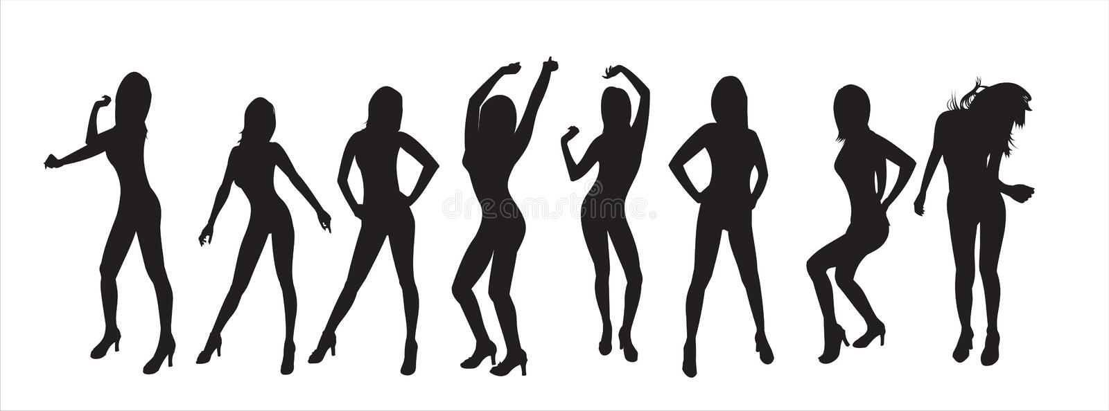Silhouettes of girls stock image