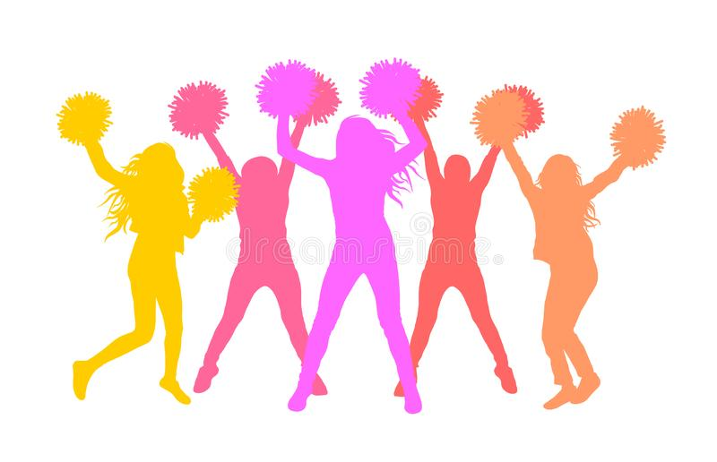 Silhouettes of girls cheerleaders with pom-poms. Vector illustration royalty free illustration