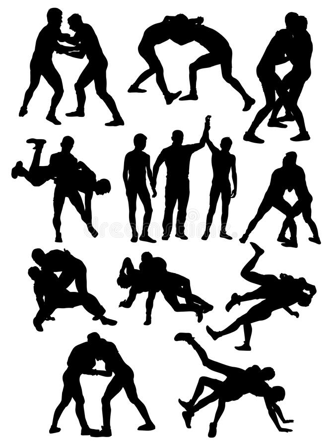Silhouettes of Greco Roman wrestling athletes vector stock illustration