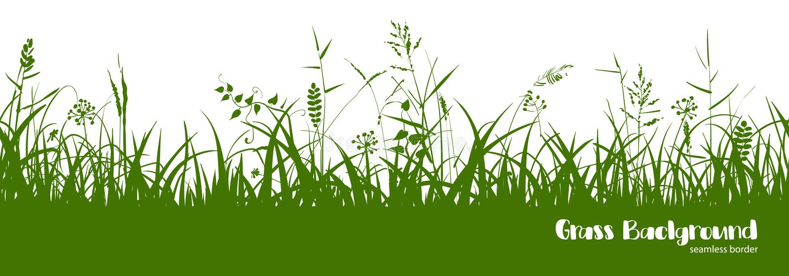 Silhouettes of green grass, spikes and herbs. Seamless border. Silhouettes of green grass, spikes and herbs isolated on white background. Seamless border. Hand royalty free illustration